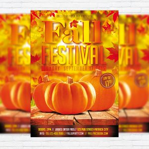 Autumn/Fall Festival - Premium Flyer Template + Facebook Cover