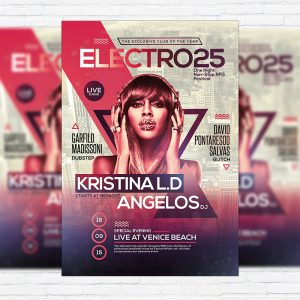 Electro - Premium Flyer Template + Facebook Cover