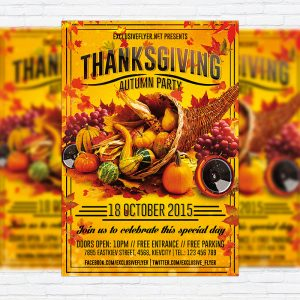 Thanksgiving Autumn Party - Premium Flyer Template + Facebook Cover