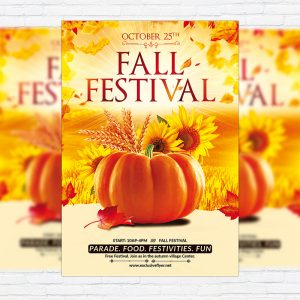 Fall Festival Party - Premium Flyer Template + Facebook Cover