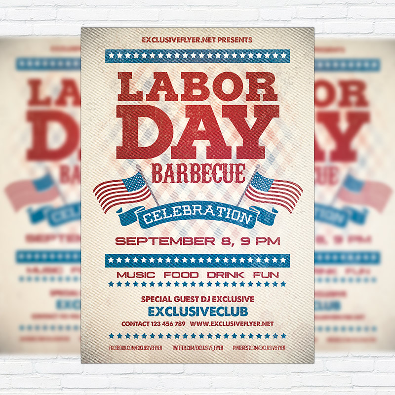 Awesome Labor Day Barbecue   Premium Flyer Template + Facebook Cover