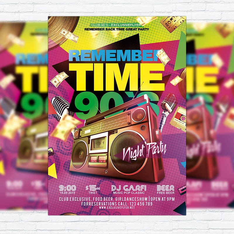 Remember Time 90'S – Premium Flyer Template + Facebook Cover