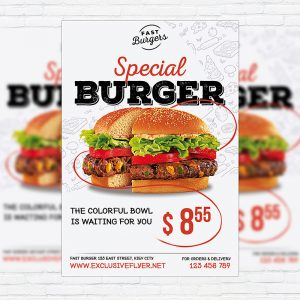 Special Burger - Premium Flyer Template + Facebook Cover