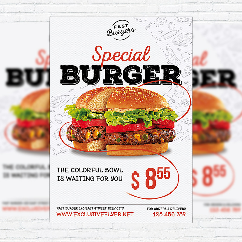 Special Burger  Premium Flyer Template  Facebook Cover