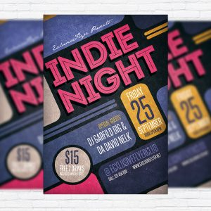 Indie Night Vol.2 - Premium Flyer Template + Facebook Cover