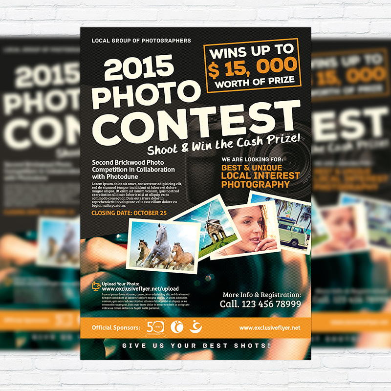Photo contest premium flyer template facebook cover for Facebook photo contest rules template