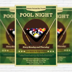 Pool Night - Premium Flyer Template + Facebook Cover