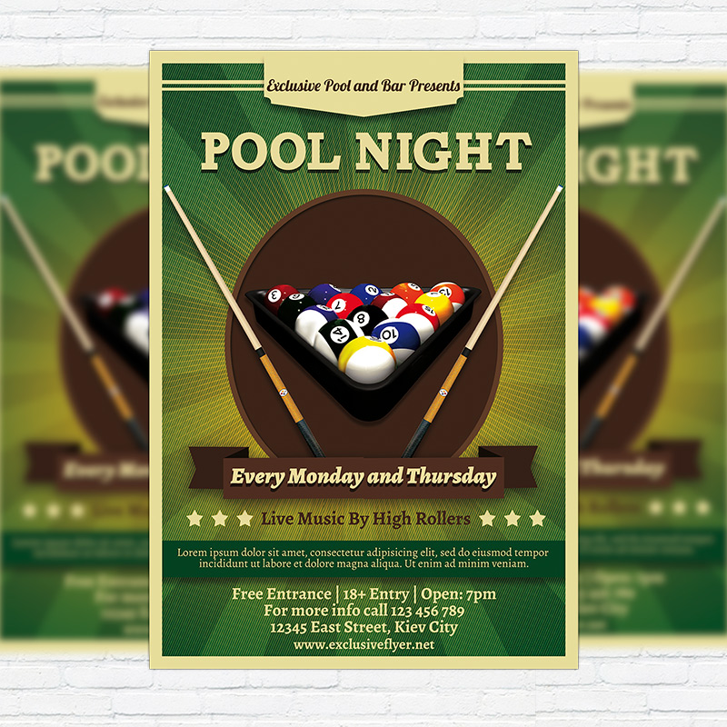 Pool night premium flyer template facebook cover for Pool design templates