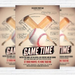Baseball Game - Premium Flyer Template + Facebook Cover