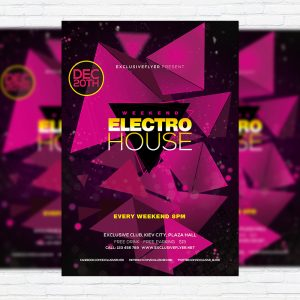 Electro House - Premium Flyer Template + Facebook Cover