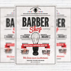 Barber Shop Vol.2 - Premium Flyer Template + Facebook Cover