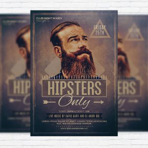 Hipsters Only - Premium Flyer Template + Facebook Cover