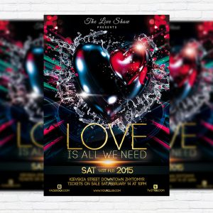 Valentines Night - Premium PSD Flyer Template + Facebook cover