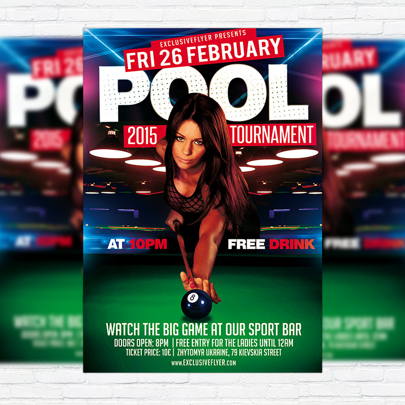 Pool Tournament Premium Psd Flyer Template Exclsiveflyer Free
