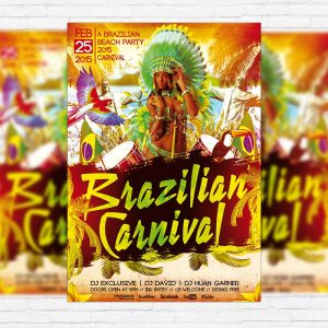 Brazilian Carnival Party - Premium PSD Flyer Template