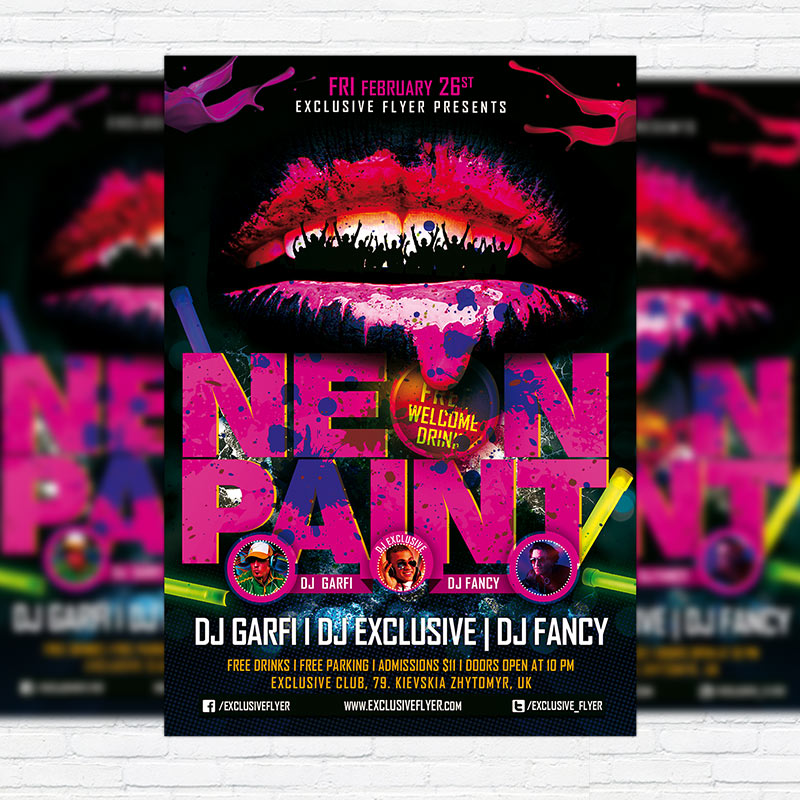 neon paint premium psd flyer template exclsiveflyer free and