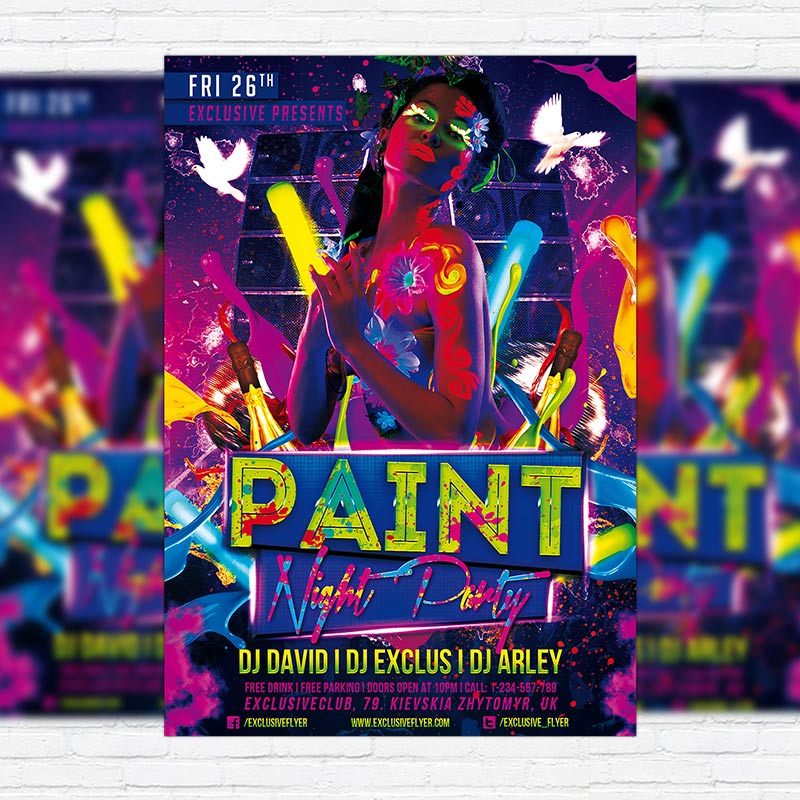 paint night party premium psd flyer template exclsiveflyer