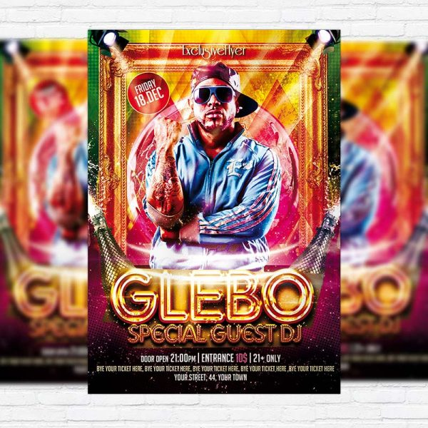 Special Guest Night Party Disco DJ Big Glebo - Free Club and Party Flyer PSD Template