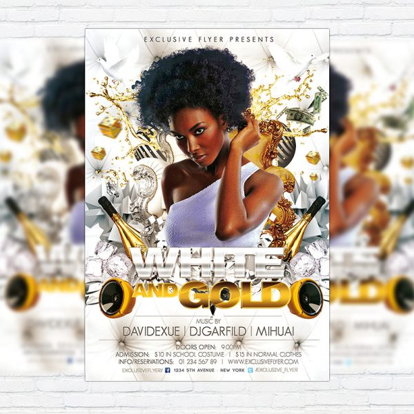 White and Gold Party - Premium PSD Flyer Template