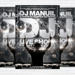 DJ Live Show - Premium Flyer Template + Facebook Cover
