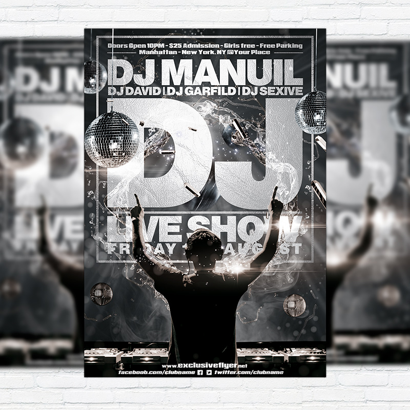 Dj Live Show – Premium Flyer Template + Facebook Cover