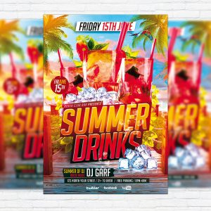 Summer Drinks - Premium Flyer Template + Facebook Cover
