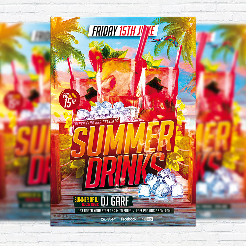 Summer Drinks  Premium Flyer Template  Facebook Cover