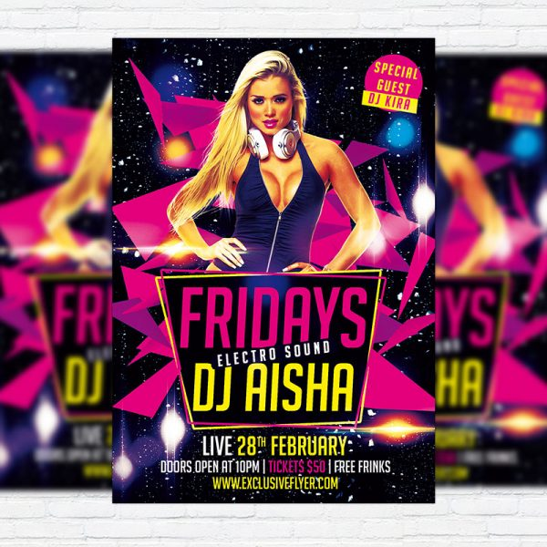 Fridays Electro Sound Party - Premium PSD Flyer Template