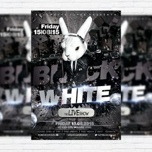 Black & White - Premium Flyer Template + Facebook Cover