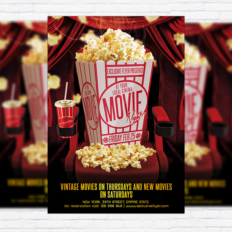 Movie Night   Premium PSD Flyer Template