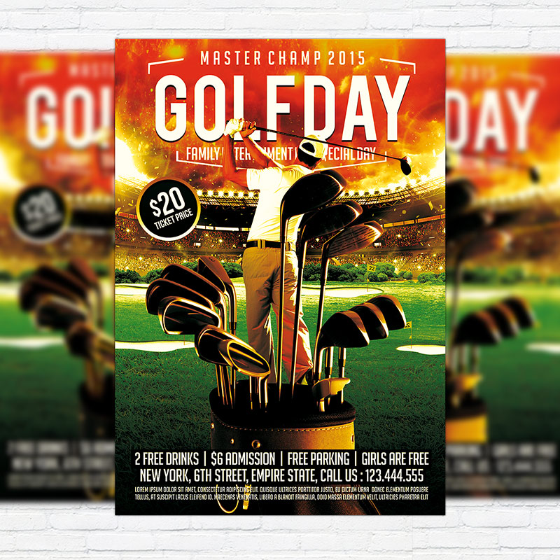 golf day premium psd flyer template exclsiveflyer free and