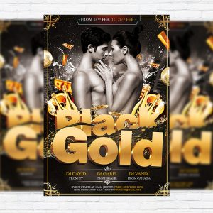 Black Gold Party - Premium PSD Flyer Template