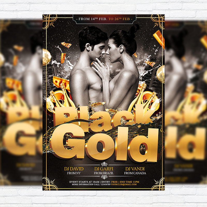 black gold party premium psd flyer template exclsiveflyer free