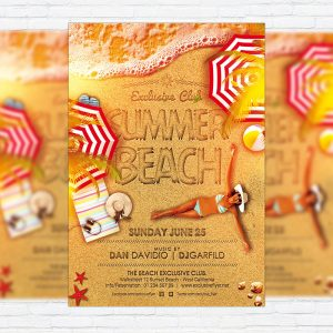 Summer Beach - Premium Flyer Template + Facebook Cover