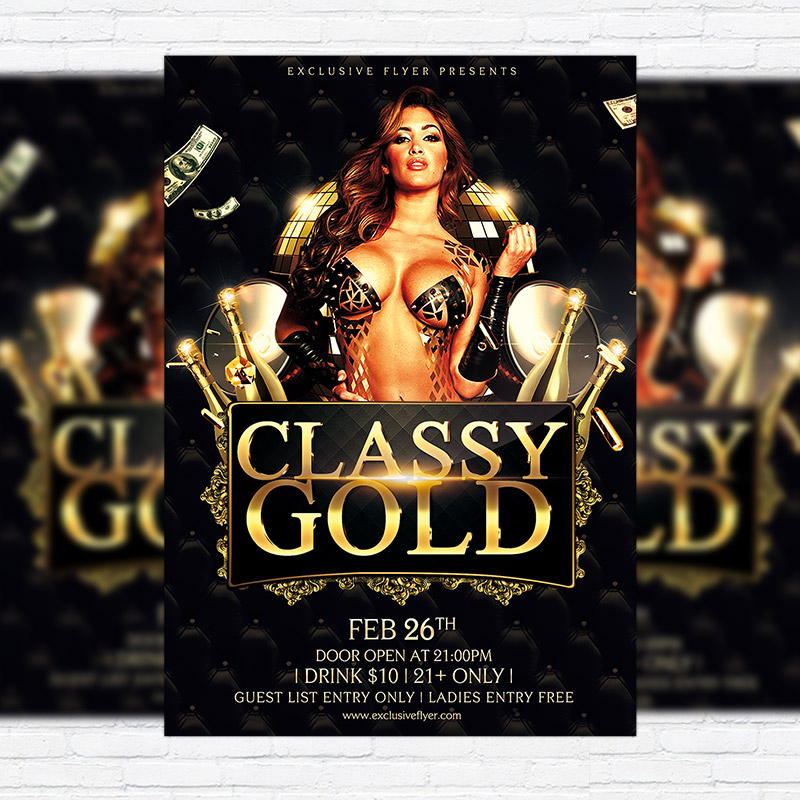 classy gold party premium psd flyer template exclsiveflyer