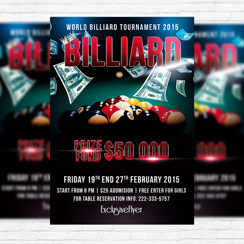 Billiard Tournament  Premium Psd Flyer Template  Exclsiveflyer