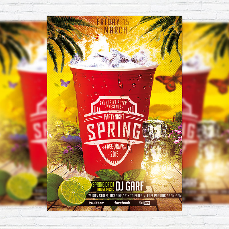 Spring Party Flyer | Spring Party Night Premium Psd Flyer Template Exclsiveflyer