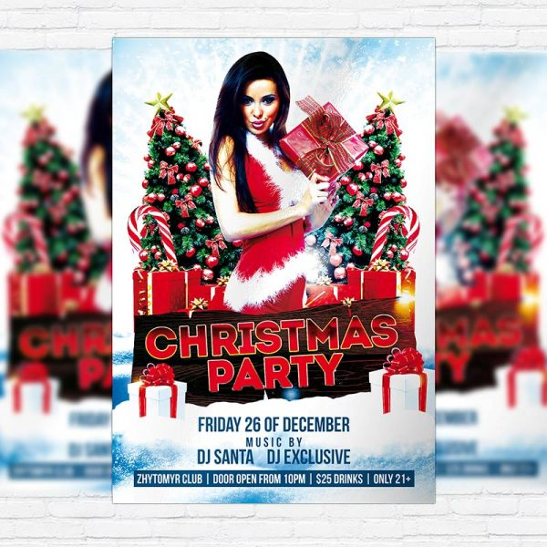 Christmas / New Year / X-mas Night Party - Free Club and Party Flyer PSD Template