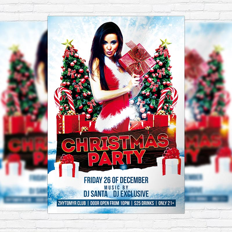 Christmas new year x mas night party free club and party flyer psd template for Christmas flyers psd