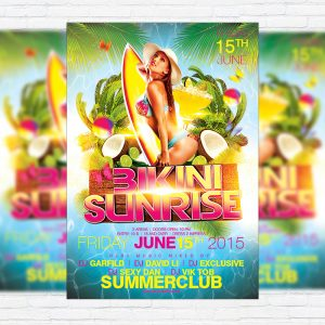 Bikini Sunrise - Premium Flyer Template + Facebook cover