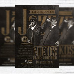 Jazz Festival - Premium Flyer Template + Facebook Cover