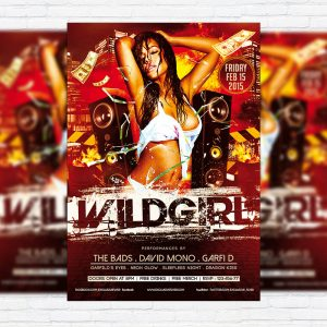 Wild Girl Party - Premium PSD Flyer Template