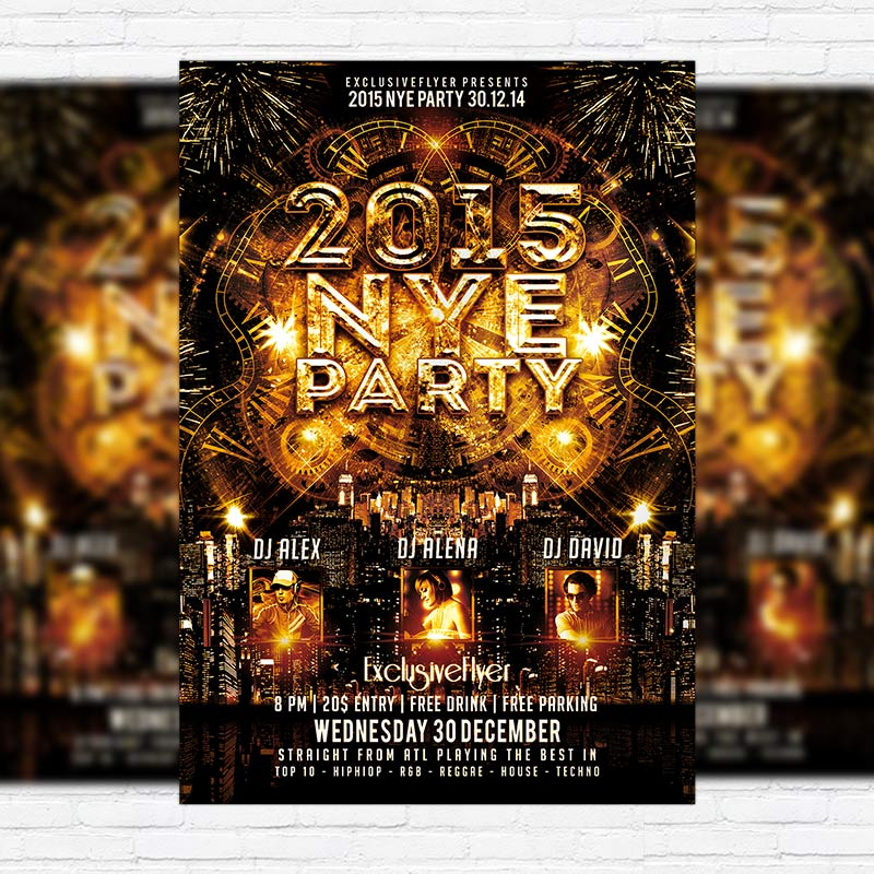 2015 nye party premium psd flyer template exclsiveflyer free