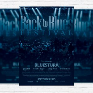 Blues Festival - Premium Flyer Template + Facebook Cover