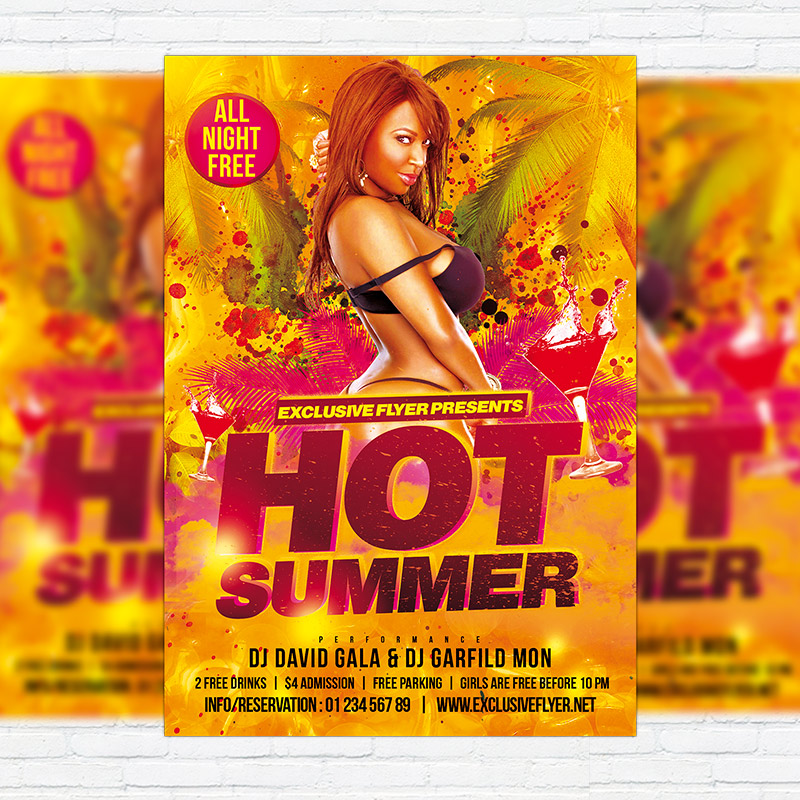 Hot Summer  Premium Flyer Template  Facebook Cover