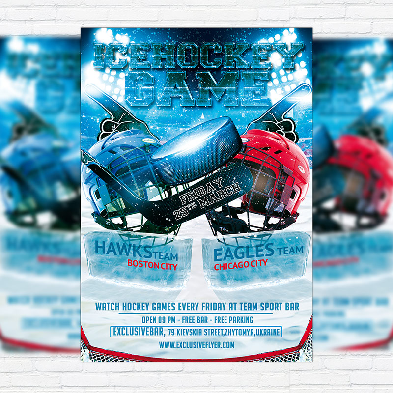 Ice Hockey Game Premium Psd Flyer Template Exclsiveflyer Free