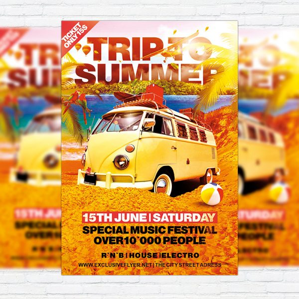 Trip To Summer - Premium Flyer Template + Facebook Cover