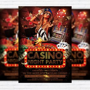 Casino Night Party - Premium Flyer Template + Facebook Cover