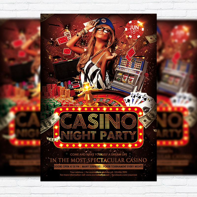 Casino Night Party – Premium Flyer Template + Facebook Cover ...
