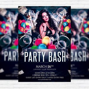 Party Bash - Premium Flyer Template + Facebook Cover